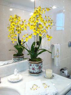 orquídias no banheiro