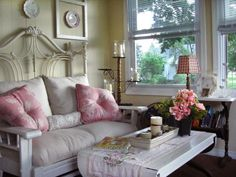 Start Small  A delicately embroidered runner and pink pillows with understated prints bring just enough shabby chic style to this cottage sitting room from RMS user Jode. If you're new to shabby chic, simply bring in a few feminine pieces with an antique feel to ease yourself into the design style.