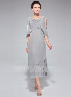 A-Line/Princess Cowl Neck Tea-Length Chiffon Mother of the Bride Dress With Beading Sequins Cascading Ruffles (008042888)