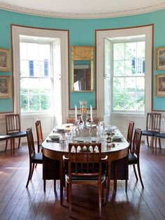 """thesorrowsofgin: """" lifeofexcess: """" cvilletochucktown: """" Dining Room at the Nathaniel Russell House """" I really enjoy the wall color, and, of course, the wainscoting. """" The Sorrows of Gin. Dining Room Paint Inspiration, Aqua Dining Rooms, Russell House, Kitchen Dining, Dining Table, Kitchen Stove, Interior Decorating, Interior Design, Decorating Ideas"""