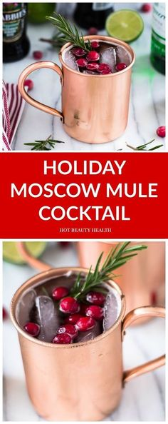 A Holiday Moscow Mule Recipe Served in a Copper Mug Get in the Seasonal Spirit With This Holiday Spin on the Moscow Mule drink cocktail. Made with cranberries, ginger beer, and vodka. The perfect holi Vodka Drinks, Cocktail Drinks, Fun Drinks, Yummy Drinks, Healthy Drinks, Cocktail Recipes, Beverages, Drink Recipes, Bourbon Drinks