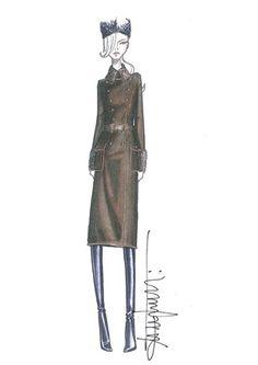Fashion illustration - chic fashion sketch for Salvatore Ferragamo