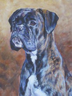 brindle Boxer dog art CANVAS print of LA Shepard painting 8x10 dog portrait