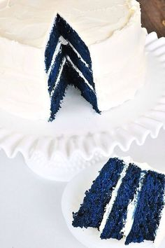 Blue Velvet Cake - A beautiful, fun twist on that Red Velvet Cake we all love! Great for birthdays, showers and school parties where blue is a school color! A favorite for baby boy showers, blue-themed bridal showers or birthdays! Absolutely delicious too! // addapinch.com