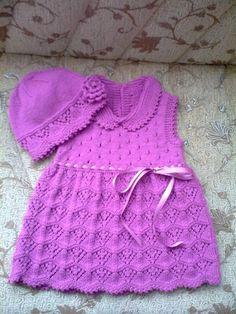 Örgü+bebek++elbisesi+ve+şapkası+