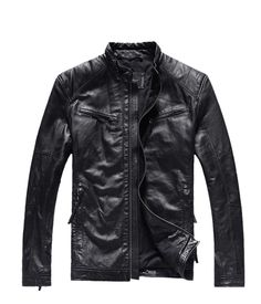 Factory Fashion Men Genuine Sheepskin Leather Jackets Brand Design Casual Slim Short Punk Motorcycle Winter Coat Jaqueta ZH083 $249.99
