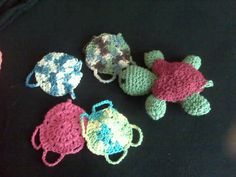 Crocheted turtle with interchangeable shells. Great use for scrap yarn.