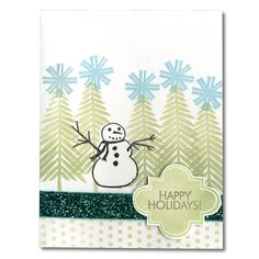 Holiday Card 70 Snowman Trees