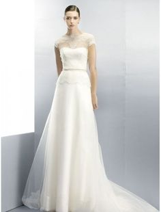 Organza Jewel Neckline A-Line Wedding Dress with Sheer Illusion Overlay - Bridal Gowns - RainingBlossoms