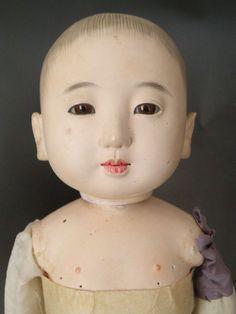 CJ19A1 Vintage Japanese Ichimatsu Gofun Boy Doll 1950 60's Haori HAKAMA | eBay