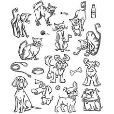 "TIM HOLTZ: Mini Cats & Dogs (7"" x 8 1/2"" Unmounted Rubber Stamp Set) This…"