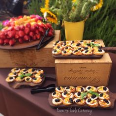 Crostini with nectarine, blackberry + ricotta | Appetizers | Farm to Table Catering | Nevada City + Grass Valley, Ca caterer | www.farm2tablecatering.com
