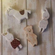 Купить елочные игрушки из дерева набор - елочные игрушки, елочная игрушка, мишка, лошадка, зайка