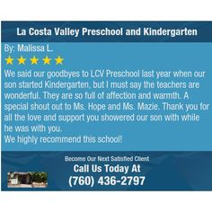 21 best parent testimonials la costa valley preschool