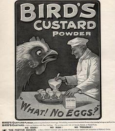 FOOD: Alternative to eggs is Bird's Bird's Custard, Custard Powder, Vintage Advertisements, Vintage Ads, Vintage Food, Tea Biscuits, Pin Up Posters, Food Labels, Vintage Recipes