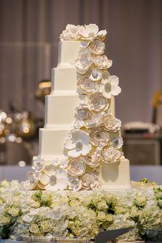 wedding-cake-five-square-layers-white-sugar-flower-cake-topper-cascading-down-layers Wedding Cake Designs, Wedding Cake Toppers, Wedding Cakes, Cream Flowers, Sugar Flowers, Luxury Wedding, Dream Wedding, Winter Wonderland Theme, Ballroom Wedding
