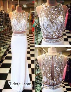 2016 beaded 2 piece prom dresses, mermaid prom dresses with side slit