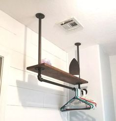 Farmhouse Laundry Room Rack Deep Drying Rack Clothes Drying Bar Towel Bar Industrial bar and clothes hanger quilt rack Laundry Room Drying Rack, Laundry Closet, Laundry Room Organization, Laundry Room Design, Laundry Hanger, Laundry Hanging Rack, Laundry Room Shelves, Closet Shelves, Garage Closet