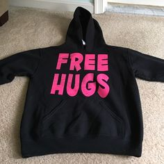Free hugs hoodie It says large but firs more like a s/m. Great condition! Jerzees Tops Sweatshirts & Hoodies