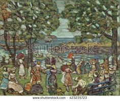Salem Cove, by Maurice Brazil Prendergast, 1916, American painting, oil on canvas. In 1907 he returned to Paris and discovered Cezanne and the Fauves. Integrating these new influences into his work, - stock photo