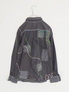 "Special Feature Invitation to ""Shobu Gakuen nui Project Shirt Exhibition"" | Iographic Textiles Techniques, Sewing Techniques, Visible Mending, Shirt Refashion, Unique Outfits, Textile Prints, Adidas Jacket, Darning, Rain Jacket"