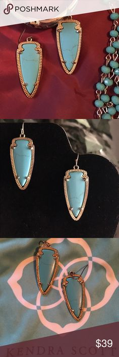 """Kendra Scott """"Sky"""" earrings Kendra Scott earrings in turquoise and gold tone metal. These have been worn, often, were my favorite. Making room for new Christmas pieces. Stones are perfect, no cracks or broken. The metal Is worn. Thank you for browsing  Kendra Scott Jewelry Earrings"""