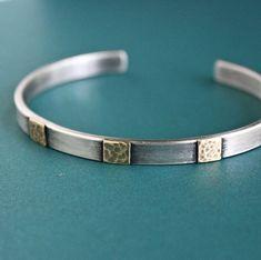 Men's Cuff Bracelet Sterling Silver and Brass by LynnToddDesigns