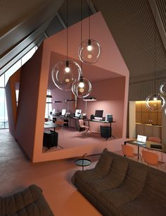 Ukrainian architect Vasiliy Butenko has recently created the concept of interior design for 'Attic' office project. As usual, vasiliy has designed a very stylish, interesting and catchy environment. Design Commercial, Commercial Interiors, Attic Renovation, Attic Remodel, Office Interior Design, Office Interiors, Office Designs, Office Ideas, Bureau Open Space