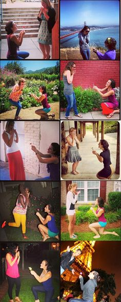 """Proposing to my Bridesmaids - I wanted to make everything just as fun and exciting for the wedding party as it was for me, so I thought I'm going to """"pop the question"""" too! These are my Girls from all around the globe and as I saw each one of them in different cities, different countries, I knelt down on one knee, offering a flower and said """"Will you be my Bridesmaid?""""I am super excited to have each of these lovely ladies by my side on my BIG day! #Wedding #Funny #Engagement #Photography"""