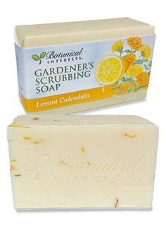 Gardener's Scrubbing Soap Lemon Calendula: Made with natural and organic ingredients, the oat flour gently scrubs off garden dirt while the natural oils sooth and soften skin. The fresh floral scent with notes of sweet lemon will invigorate you!