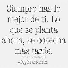 """¡Buenos días! """"Siempre haz lo mejor de ti, lo que se planta ahora se cosecha más tarde"""" Og Mandino"""