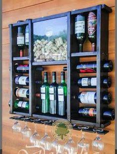 Mini bar wine rack mini bar with wine storage – simplebirdiecrafts Mini Bars, Home Wine Bar, Diy Casa, Home Bar Designs, Wood Wine Racks, Wine Cabinets, Bars For Home, Home Projects, Woodworking Projects