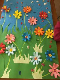 Łąka z kwiatami Anchor Crafts, Cross Crafts, Easy Crafts For Kids, Diy For Kids, Diy And Crafts, Spring Art, Spring Crafts, Diy Flowers, Paper Flowers