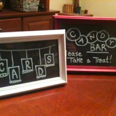 Instead of buying multiple chalkboards, I bought frames and black cardstock. Real chalk works well on the paper, but using a chalk marker works great on the glass and wipes off clean so it's easy to redo designs - idea by Lindsey Nill