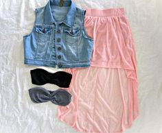 Sleeveless denim jacket paired with a high-low coral skirt a bandeau! Teen Fashion, Love Fashion, Autumn Fashion, Fashion Outfits, Womens Fashion, Fashion Trends, Fashion Sets, Style Fashion, High Fashion