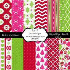 Digital  scrapbooking paper Christmas CHRISTMAS