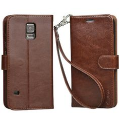 Amazon.com: Arae Slim Flip Folio PU Leather Wallet Case for Galaxy S5 i9600, Brown: Cell Phones & Accessories