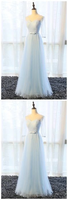 Prom Dresses,new fashion Prom Dresses,Simple pure blue V neck long bowknot senior prom dress with mid sleeves #modestpromdress #newpromdress #2018fashions #newstyles #tulle