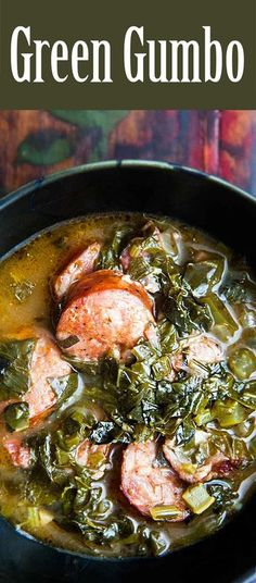 Green Gumbo ~ A traditional Louisiana gumbo served during Lent that is based on loads of greens such as collards, kale, turnip greens and spinach. ~ SimplyRecipes.com Louisiana Gumbo, Louisiana Recipes, Cajun Recipes, Southern Recipes, Soup Recipes, Cooking Recipes, Healthy Recipes, Soul Food Recipes, Soul Food Meals