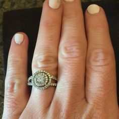 1.5 karat center stone, 3 karats total weight ring 1.5 karat center stone, 3 karats total weight ring, split shank, silver plated, 2 gorgeous halos around this sparkler!! Jewelry Rings
