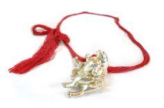 Izabella Petrut - INNOCENT project - Cuddling pig  necklace – plastic toy, electroformed in silver, silk thread, 2013