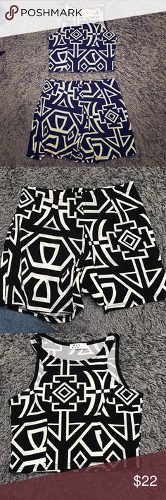 2 piece crop top and shorts Printed crop top with double layer shorts perfect condition Other