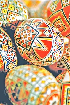Traditional 'pysanky', or Ukrainian Easter eggs, that I made in the year 1998 (Made and photographed by Dave Melnychuk)