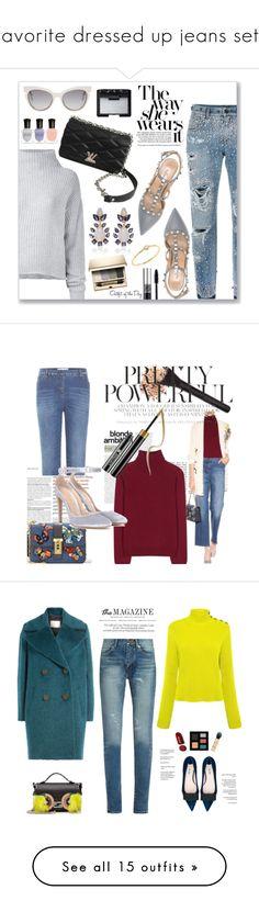 """Favorite dressed up jeans sets"" by deborah-518 ❤ liked on Polyvore featuring Dolce&Gabbana, Valentino, Le Kasha, Louis Vuitton, Bounkit, Sydney Evan, Fendi, NARS Cosmetics, Deborah Lippmann and Clarins"
