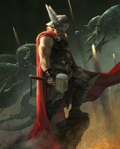 Thor by Aleksi Briclot. Now this is one Thor I do like. Poster Marvel, Poster Superman, Posters Batman, Comic Book Characters, Comic Book Heroes, Marvel Characters, Comic Character, Comic Books Art, Comic Art