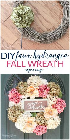 So easy and cute!! Love this DIY Faux Hydrangea Fall Wreath!