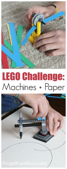 LEGO Building Challenge: Machines + Paper Here are two fun LEGO machines to build – a paper crimper and a circle drawing device! Challenge kids to build these designs or invent their own. This is a great project for a LEGO club! What other machines can y Stem Projects, Projects For Kids, Crafts For Kids, Project Ideas, Art Projects, Reading Projects, Legos, Circle Drawing, Lego Machines