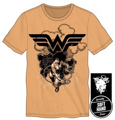 03ddd7ead5dc33 DC Comics Wonder Woman Lasso of Truth Logo Specialty Soft Hand Print Men s  Orange T-