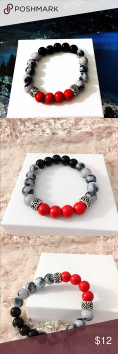 Marble Beads Bracelet Beautiful Red black and marble bead bracelet made with love at home ... elastic one size fit most.. Stunning look on Him! 1 of 2. $12 gift box available Accessories Jewelry