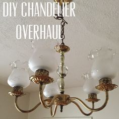 DIY Chandelier Overhaul: easily makeover an ugly fixture! Chandelier Chain, Clear Crystal, Candle Sconces, Thrifting, Wall Lights, Sweet Home, Candles, Crystals, Glass